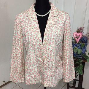 Anthropologie Pink Multi Odille Floral Blazer (B5)